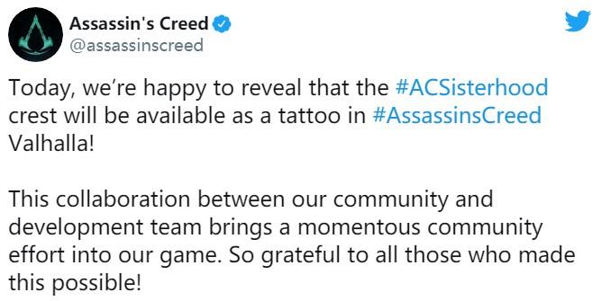 """《刺客信条:英灵殿》中加入""""姐妹会""""纹身致敬女性游戏角色和开发人员"""