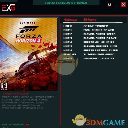 《极限竞速:地平线4》v1.0.4八项修改器[FutureX]