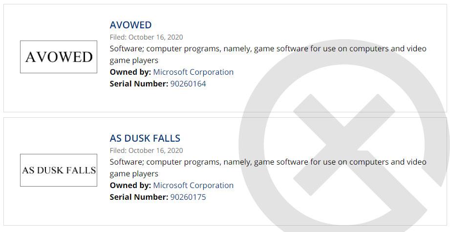 微软新作《宣誓》和《黄昏降临时》已完成商标注册