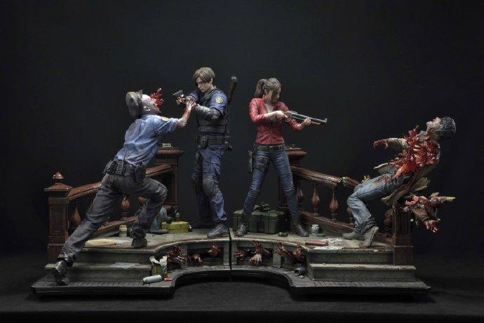 《生化危机2:重制版》里昂克莱尔场景类雕像公布 2022年上市