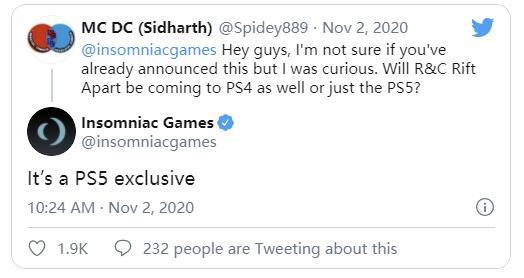 Insomniac确认《瑞奇与叮当:分离》是PS5独占游戏