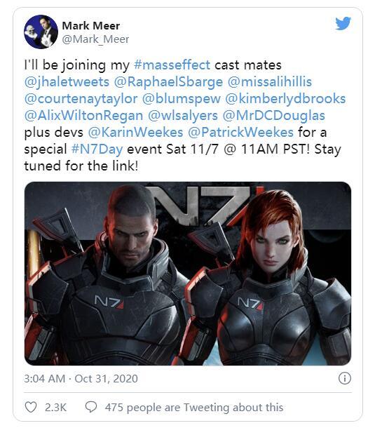 《质量效应三部曲》配音演员将于本周重聚 参加直播活动