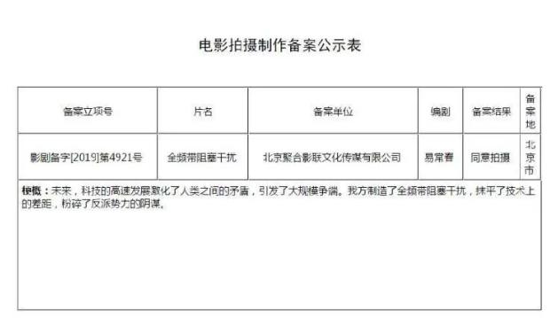 刘慈欣又一小说改编电影《全频带阻塞干扰》正式立项