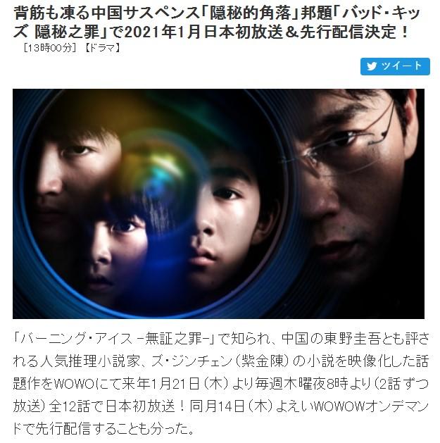 《隐秘的角落》确定2021年1月21日在日本播出 中文原声+日文字幕