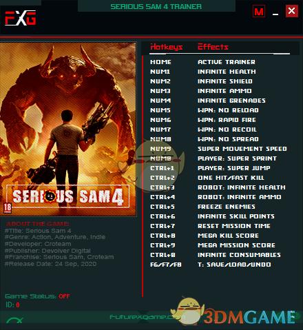 《英雄萨姆4》v1.01二十一项修改器[FutureX]