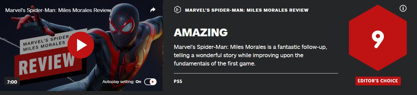 《漫威蜘蛛侠:迈尔斯·莫拉莱斯》IGN 9分 不容错失的续篇