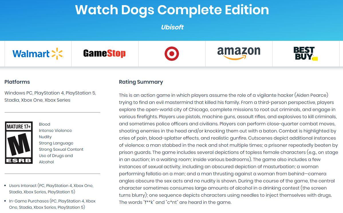《看门狗:完整版》取得评级 或为初代著作优化版别