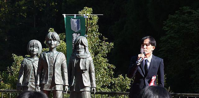 进击现世!《进击的巨人》作者谏山创故乡主角铜像揭幕