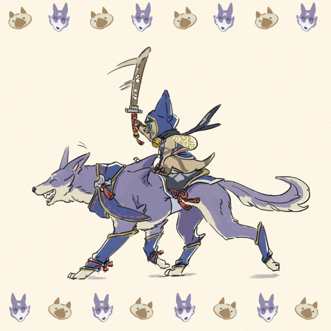 《怪物猎人:崛起》新艺术图 艾露猫骑乘牙猎犬战斗!