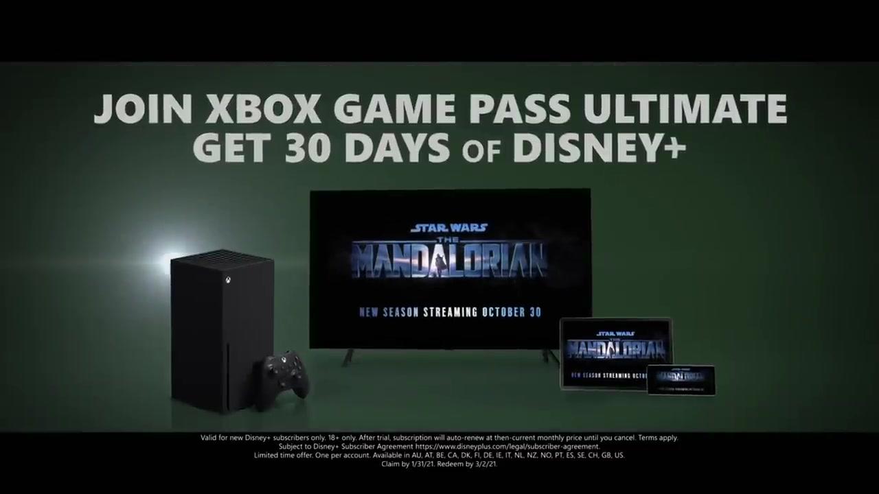 Xbox Game Pass Ultimate订阅送30天迪士尼+会员