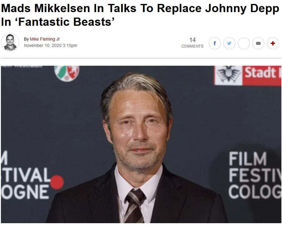 麦斯米科尔森正商谈加盟《奇特动物》系列电影 或出演格林德沃
