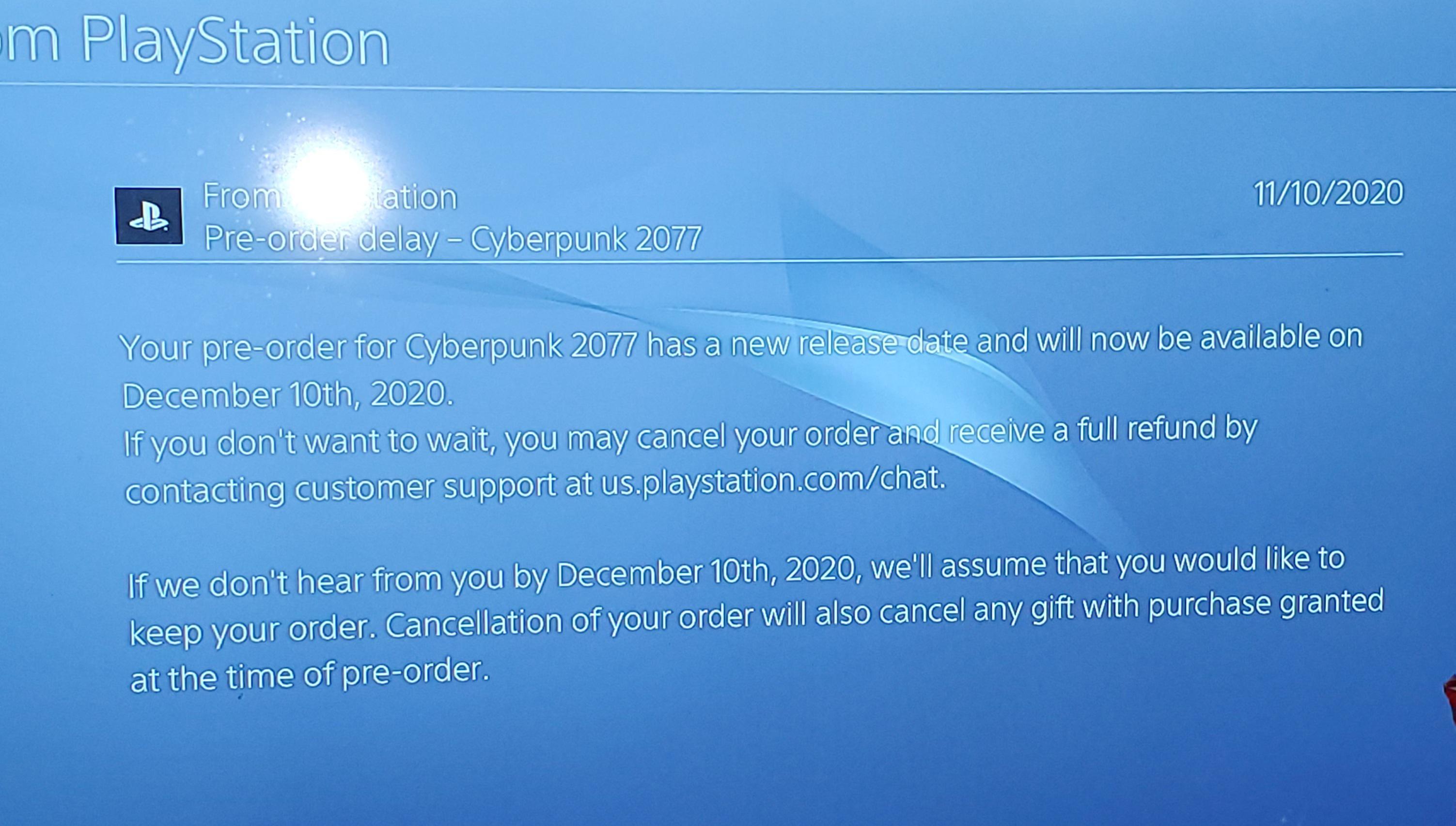 跳票后 索尼给没有预购《赛博朋克2077》的玩家也发了撤销预购告诉