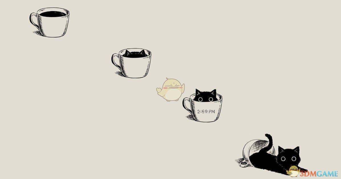 《Wallpaper Engine》杯子里的小黑猫动态壁纸