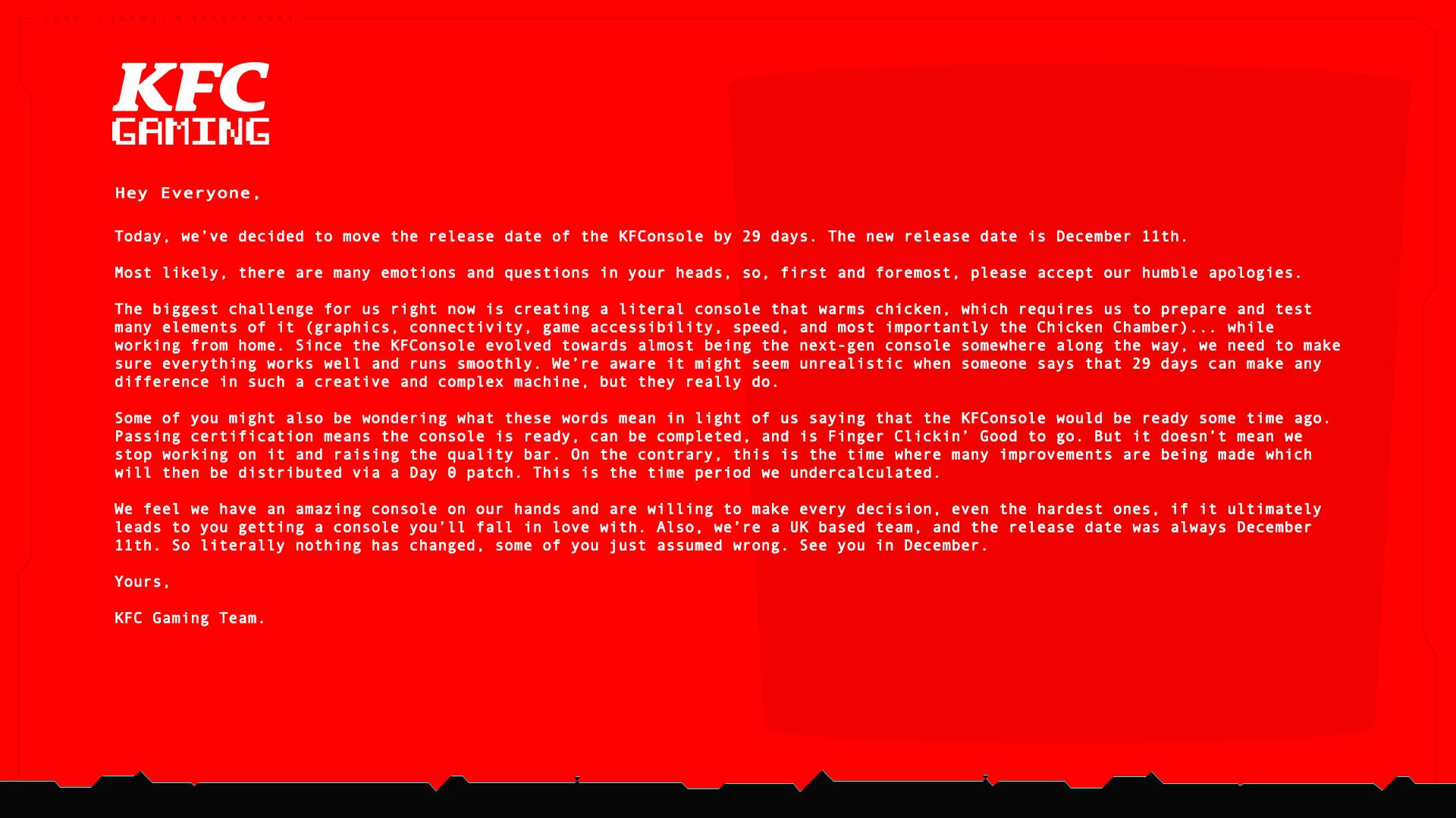 恶搞《赛博朋克2077》 肯德基游戏主机延期至12月发售