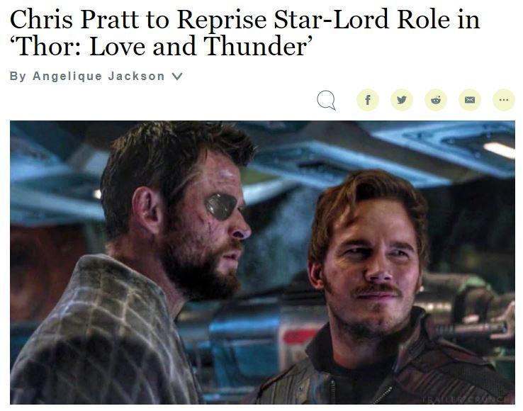 漫威世界联动持续 星爵将出演《雷神4:爱与雷霆》