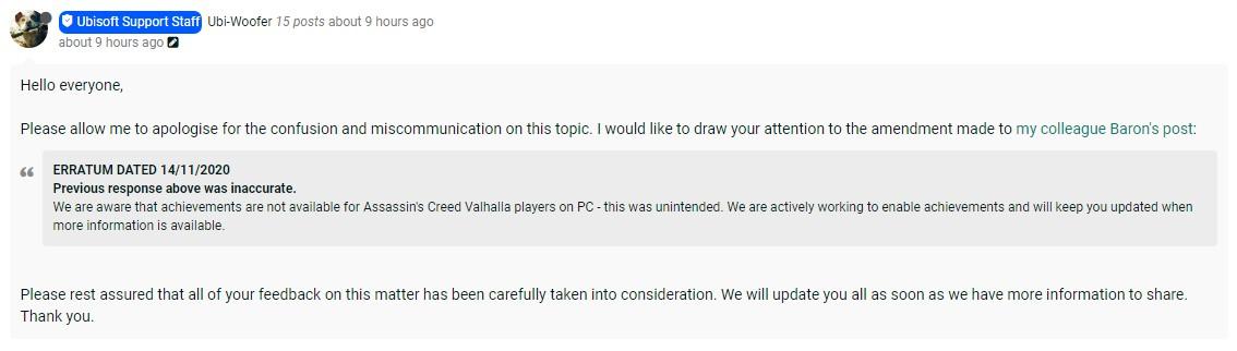 《刺客信条:英灵殿》PC版取消成就系统 育碧致歉并将恢复
