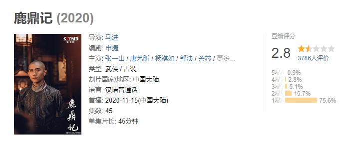 新《鹿鼎记》豆瓣仅2.8分 网友:韦小宝演得像猴