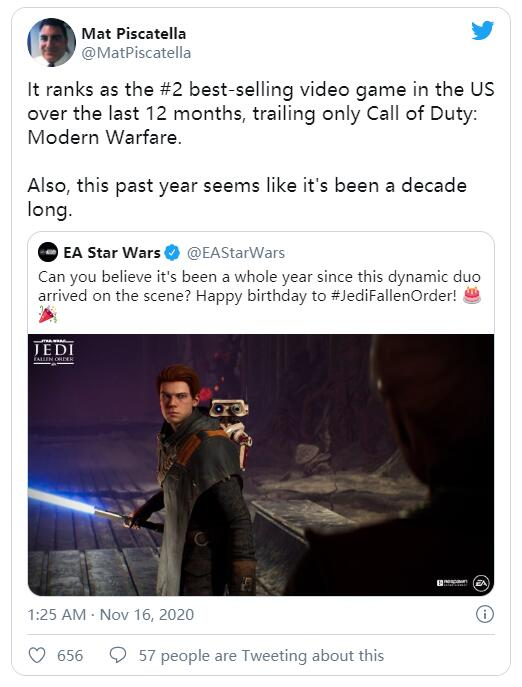 《星战绝地:陨落的武士团》过去一年销量不错