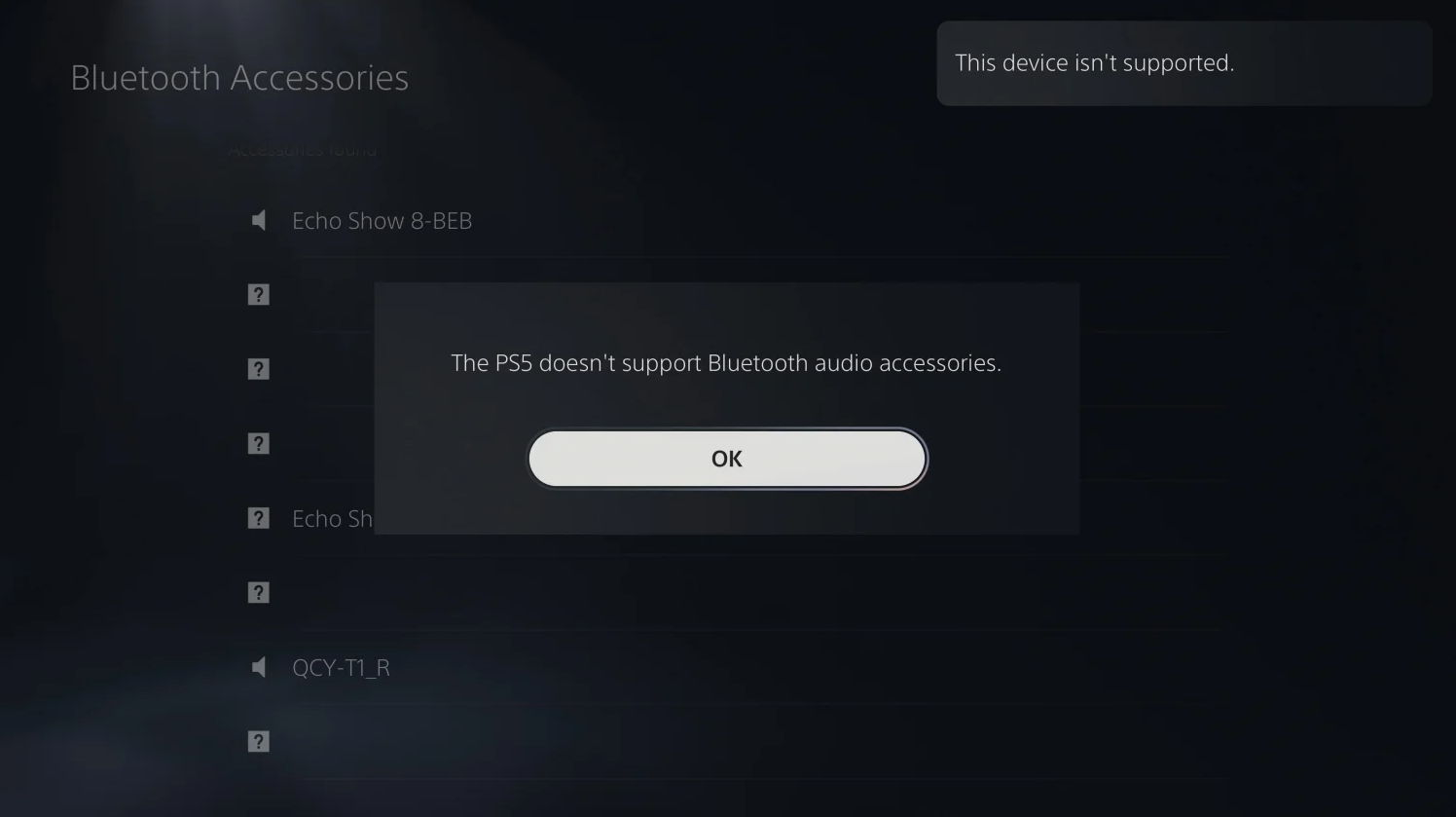 PS5现在不支撑蓝牙音频设备 索尼自家耳机也不可