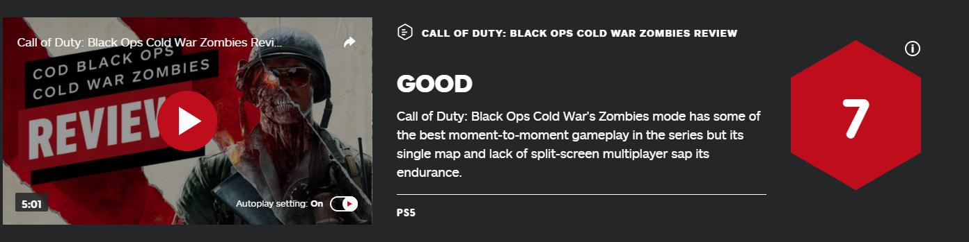 《任务呼唤17》IGN评分:僵尸形式7分 多人形式6分