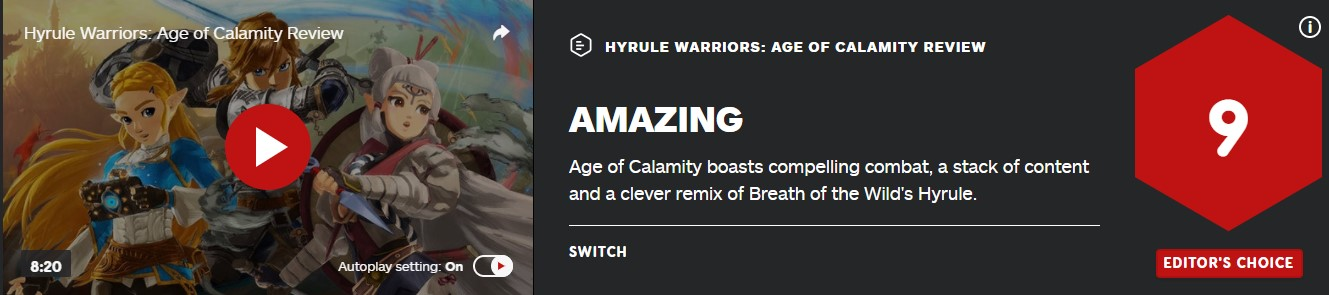 《塞尔达无双:灾厄启示录》IGN 9分:内容丰富、战斗精彩