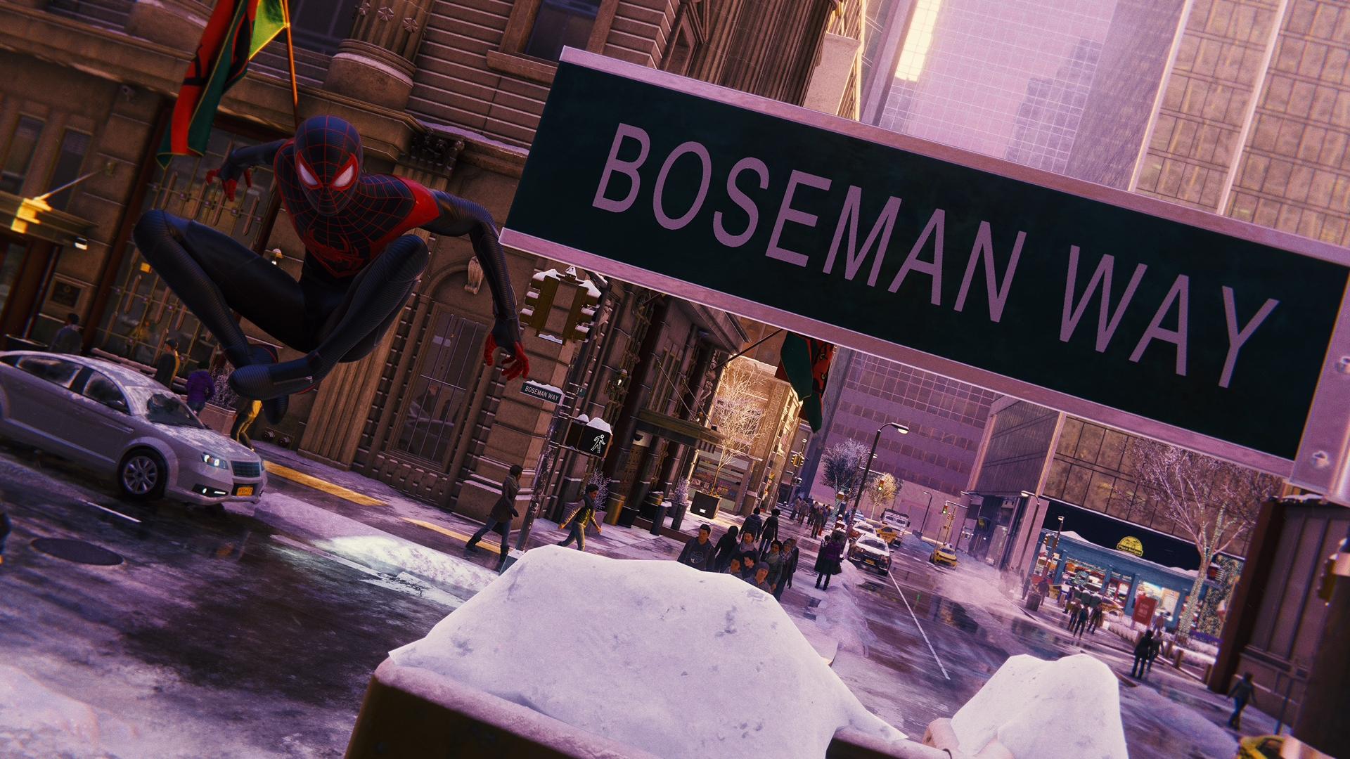《漫威蜘蛛侠:迈尔斯》有以黑豹饰演者命名的道路