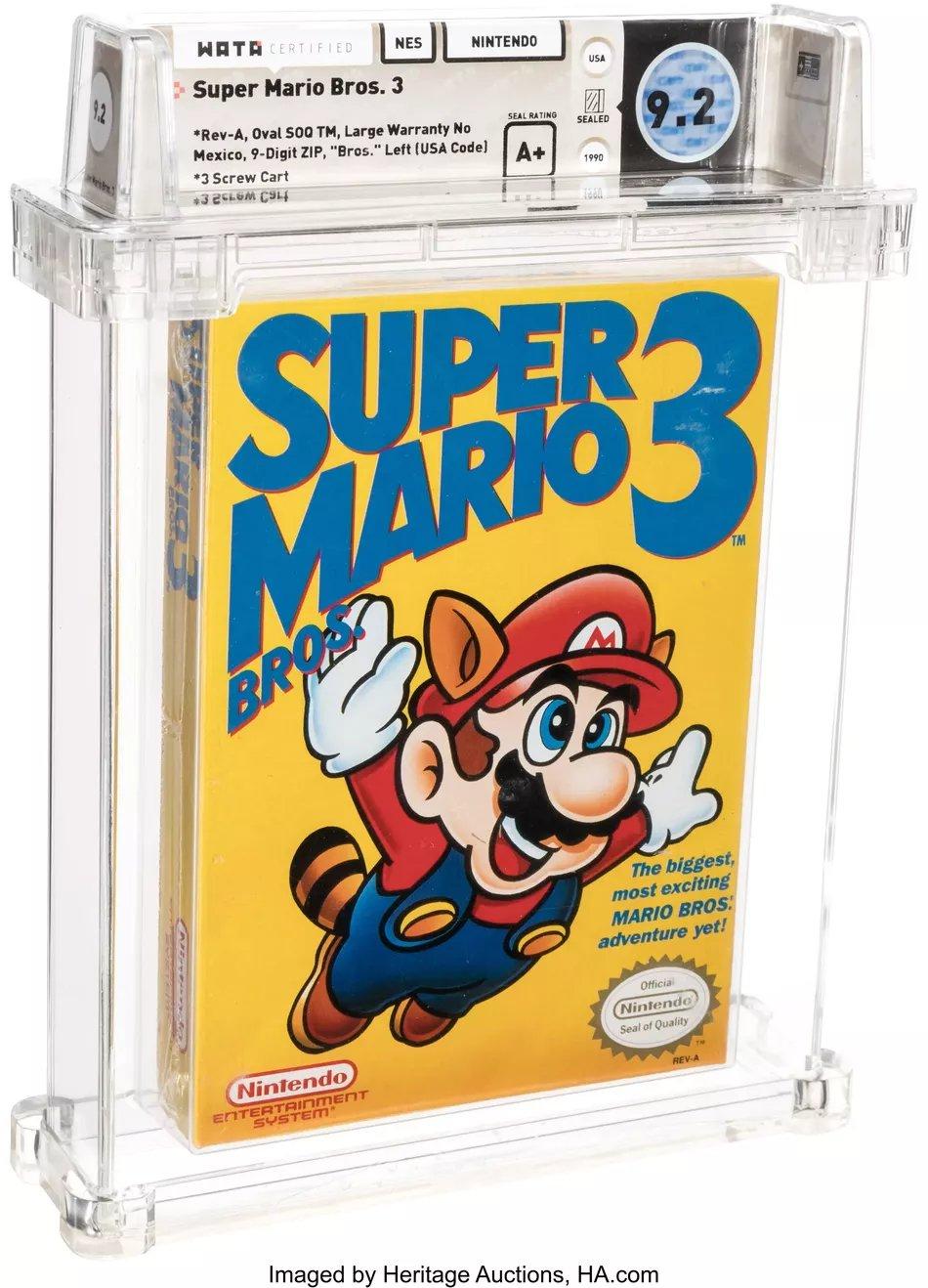 《超级马里奥兄弟3》拍出15.6万美元史上最贵的游戏