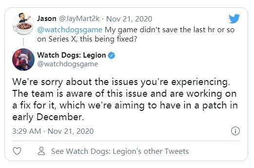 育碧《看门狗:军团》存档问题计划将于12月初修复
