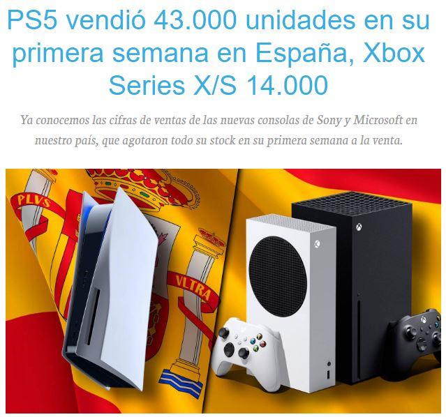 次世代主机西班牙首周销量比照 PS5占有优势