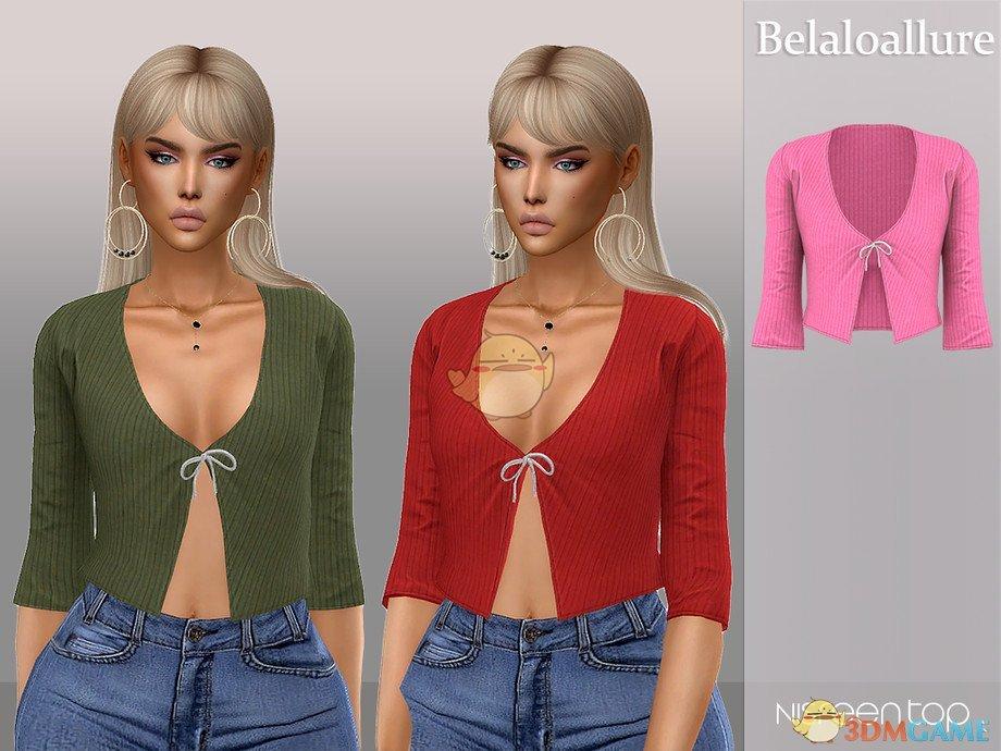 《模拟人生4》女性蝴蝶结针织上衣MOD