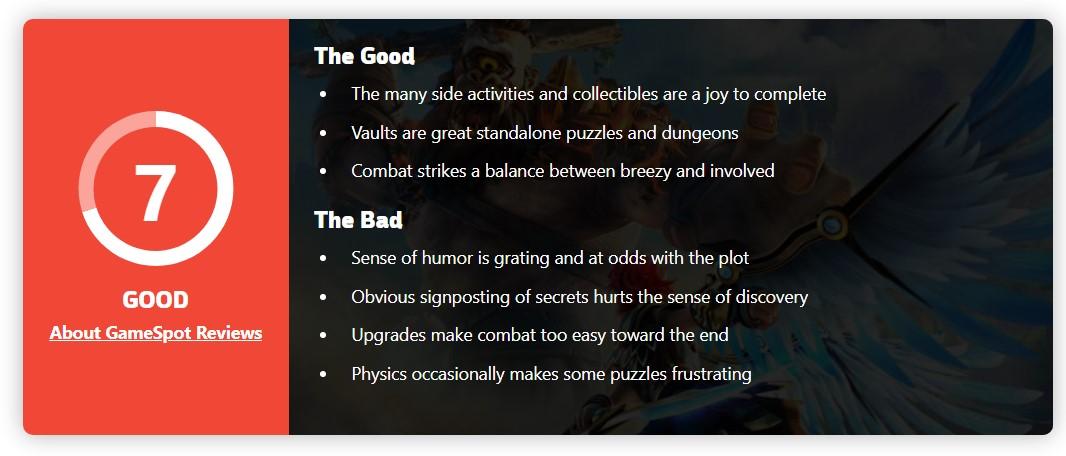 《渡神纪》Gamespot 7分:玩法有借鉴 同类游戏有更好选择