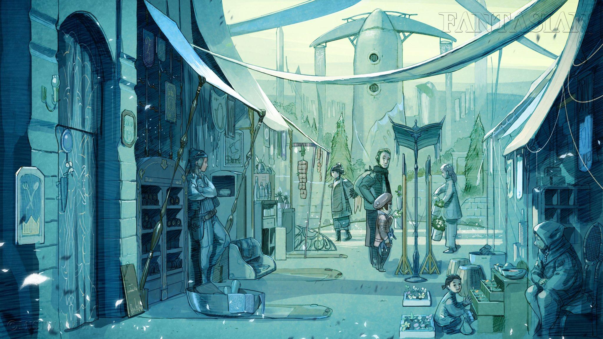 坂口博信晒新游《Fantasian》截图 街区日常一景风格奇幻