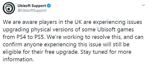 《英灵殿》等PS4实体版晋级PS5版失利 育碧回应在处理