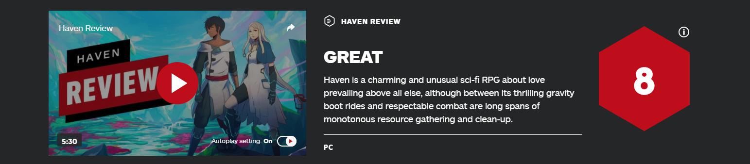 《Haven》IGN 8分:不仅着眼于故事还着眼于爱情