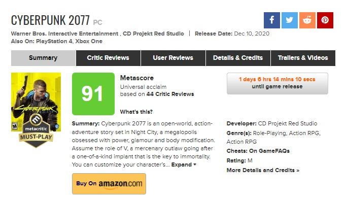 3DM速报:《赛博朋克2077》均分91!TGA将至少首次公布12款游戏