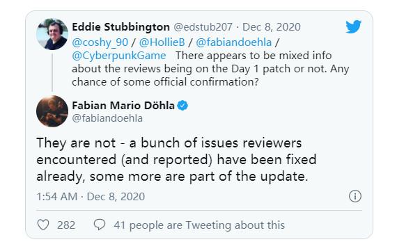《赛博朋克2077》XSX版又更新了15G CDPR承诺大部分bug会在首日补丁中修复