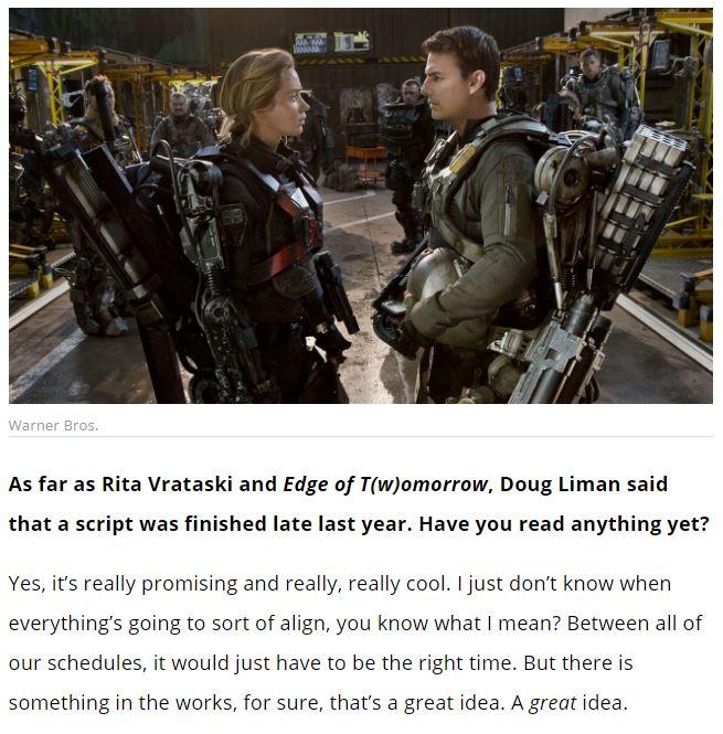 《明日边缘2》仍在制作筹备中 女主表示剧本很酷