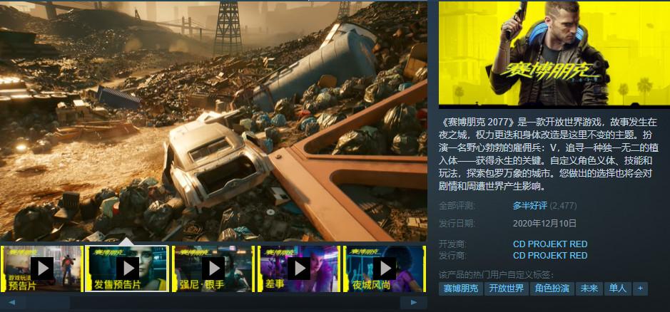 《赛博朋克2077》Steam在线超100万 超《辐射4》2倍
