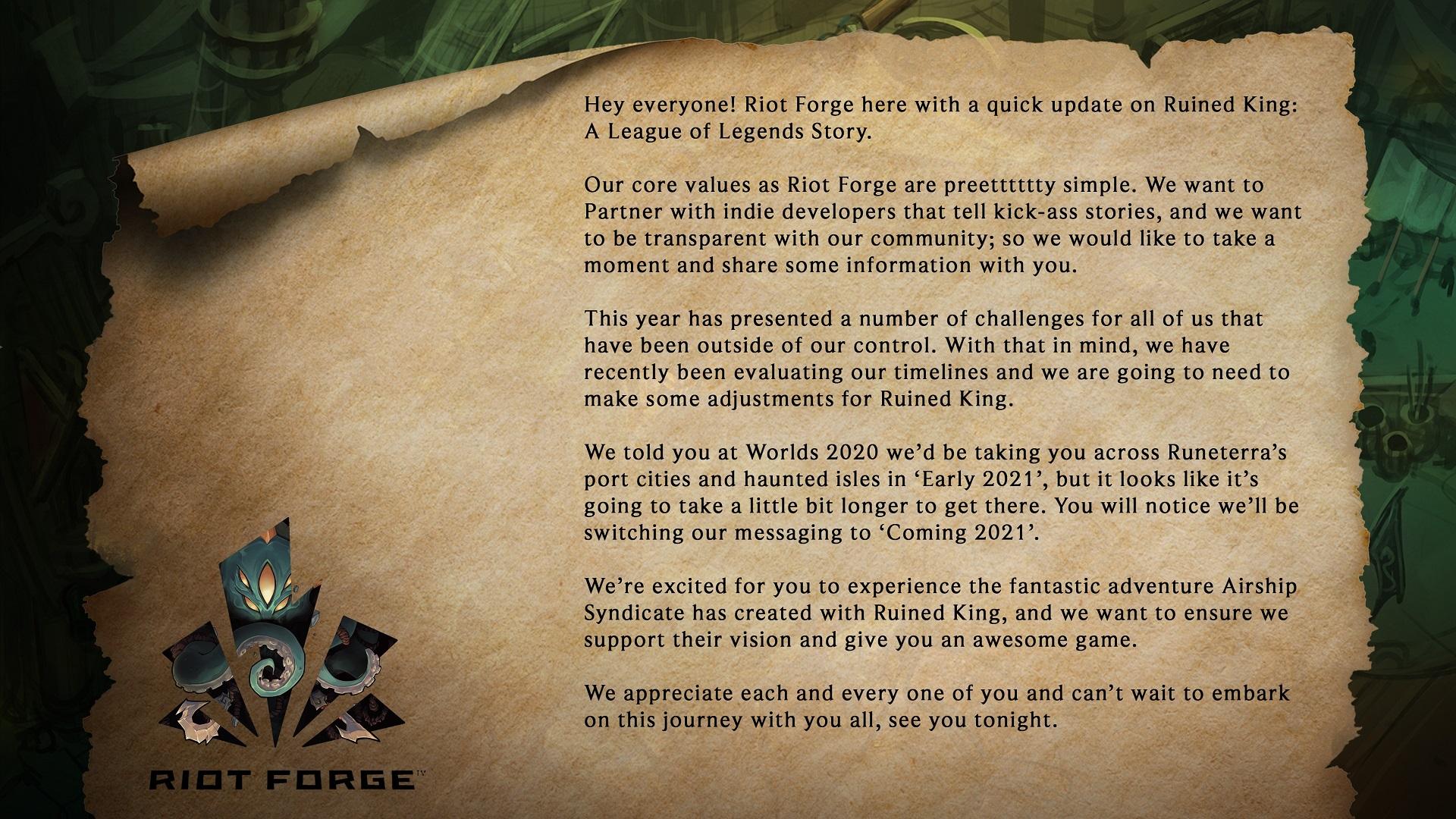 LOL外传《破败王者:英雄联盟传奇》延期发售