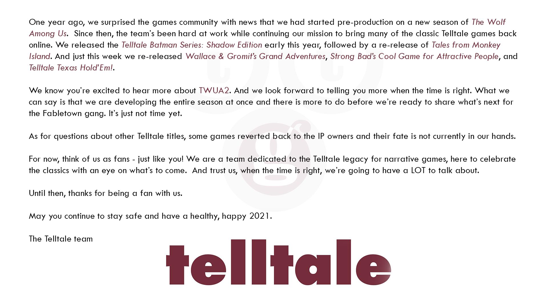 官方确认《与狼同行2》不会出席今年TGA