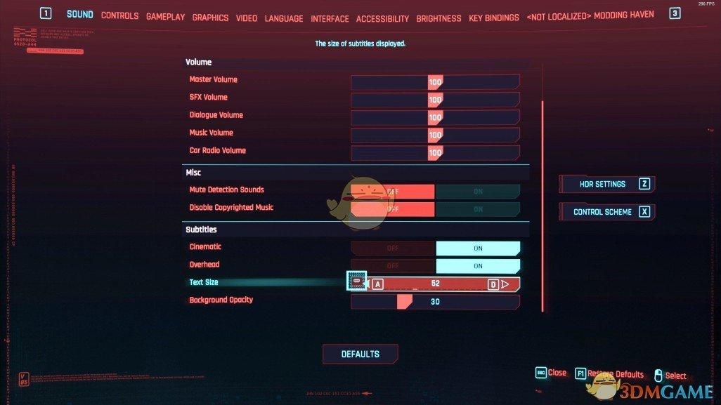 《赛博朋克2077》菜单设置扩展补丁