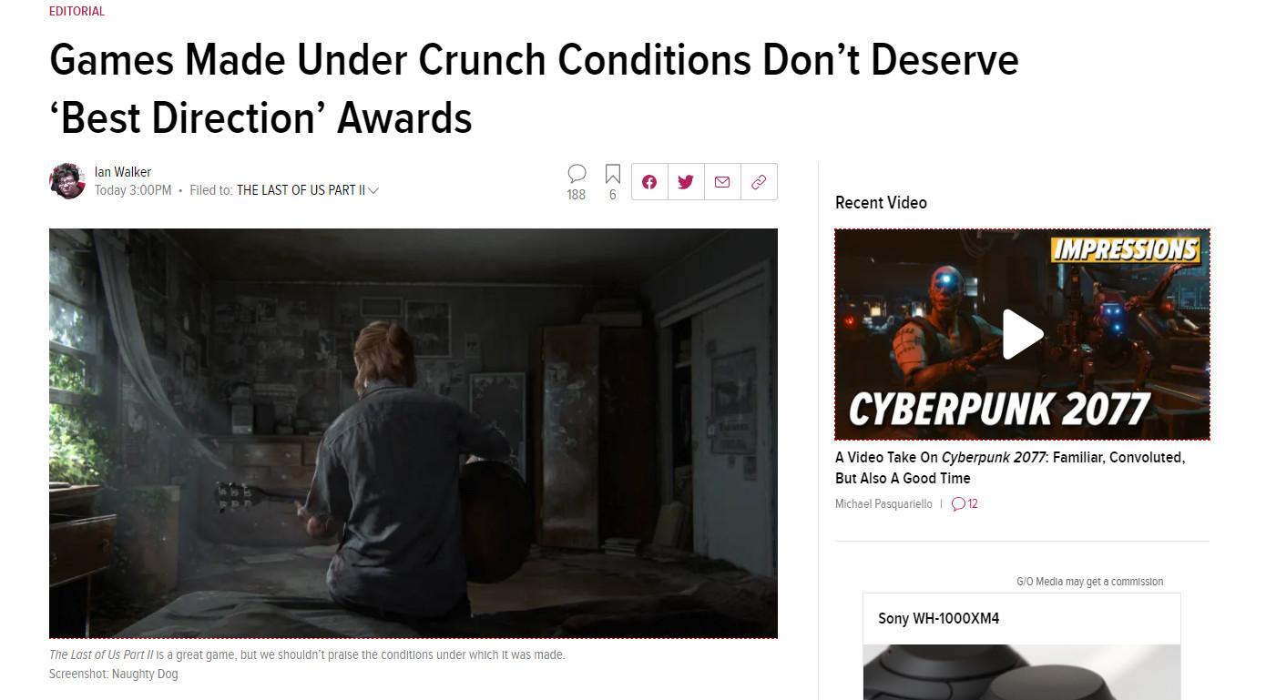 """Kotaku:《最后的生还者2》加班严重 不配获得""""最佳游戏指导""""奖"""