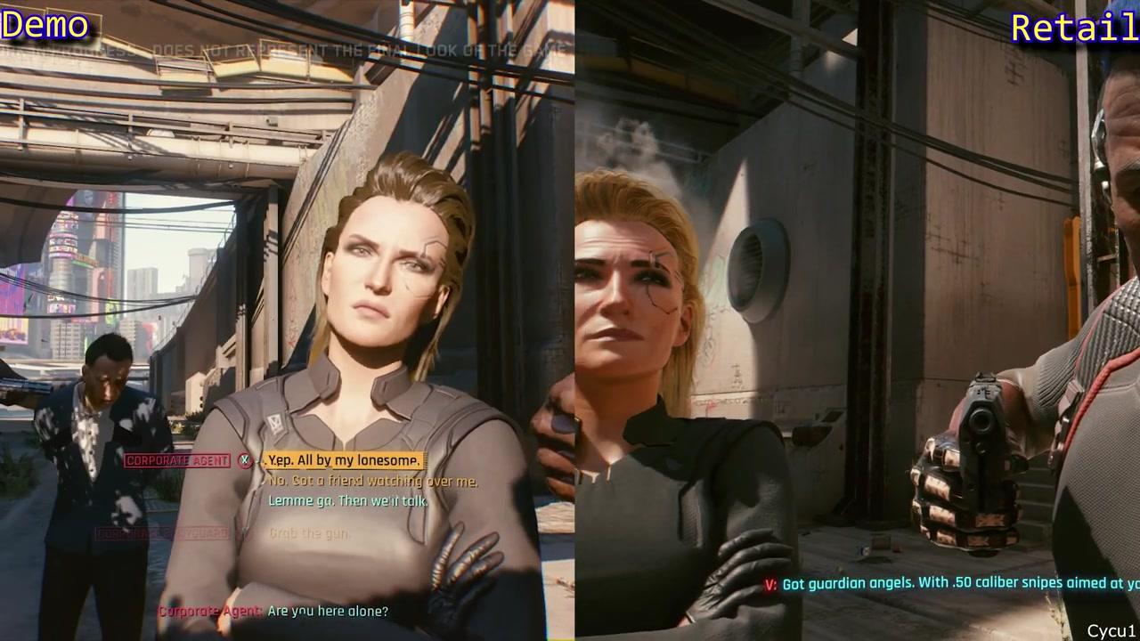 《赛博朋克2077》E3 2018 vs.2020零售版视频对比