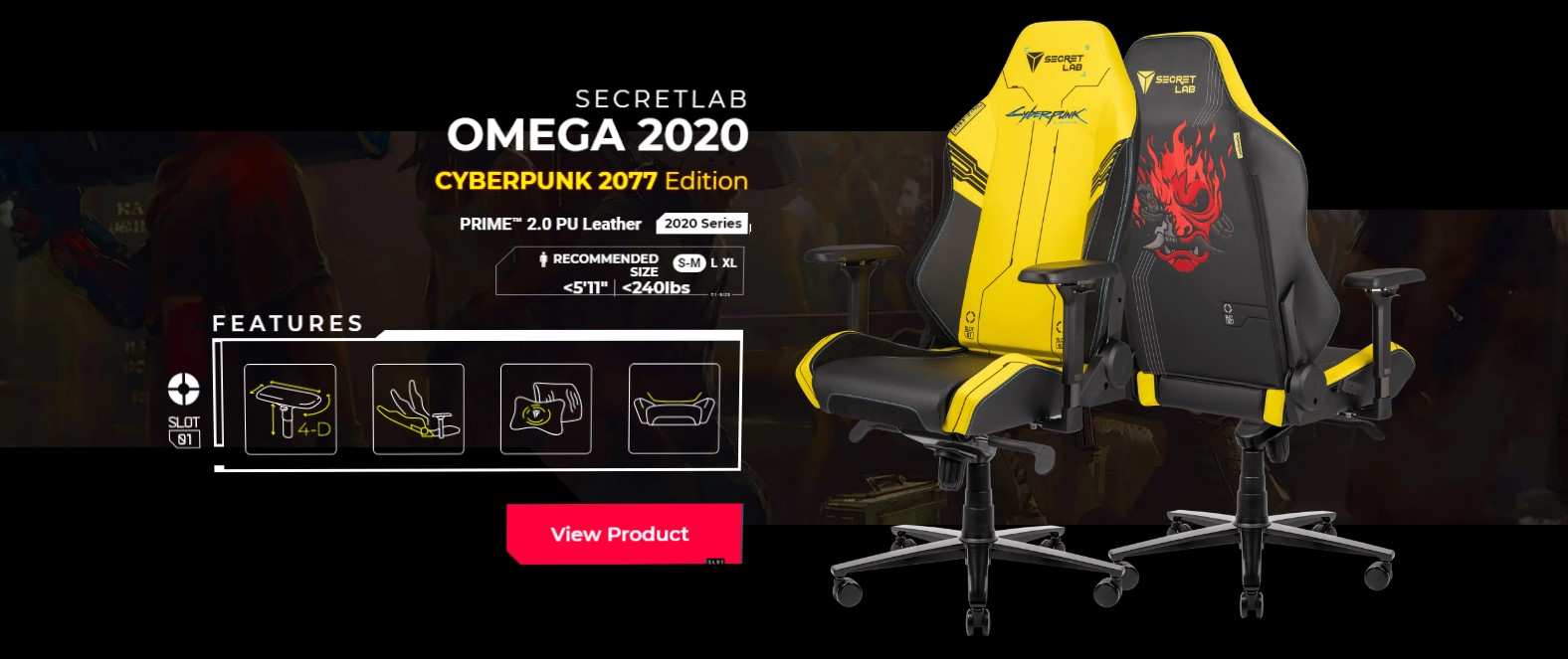 Secretlab x 《赛博朋克2077》电竞椅再次开卖 售价449美元起
