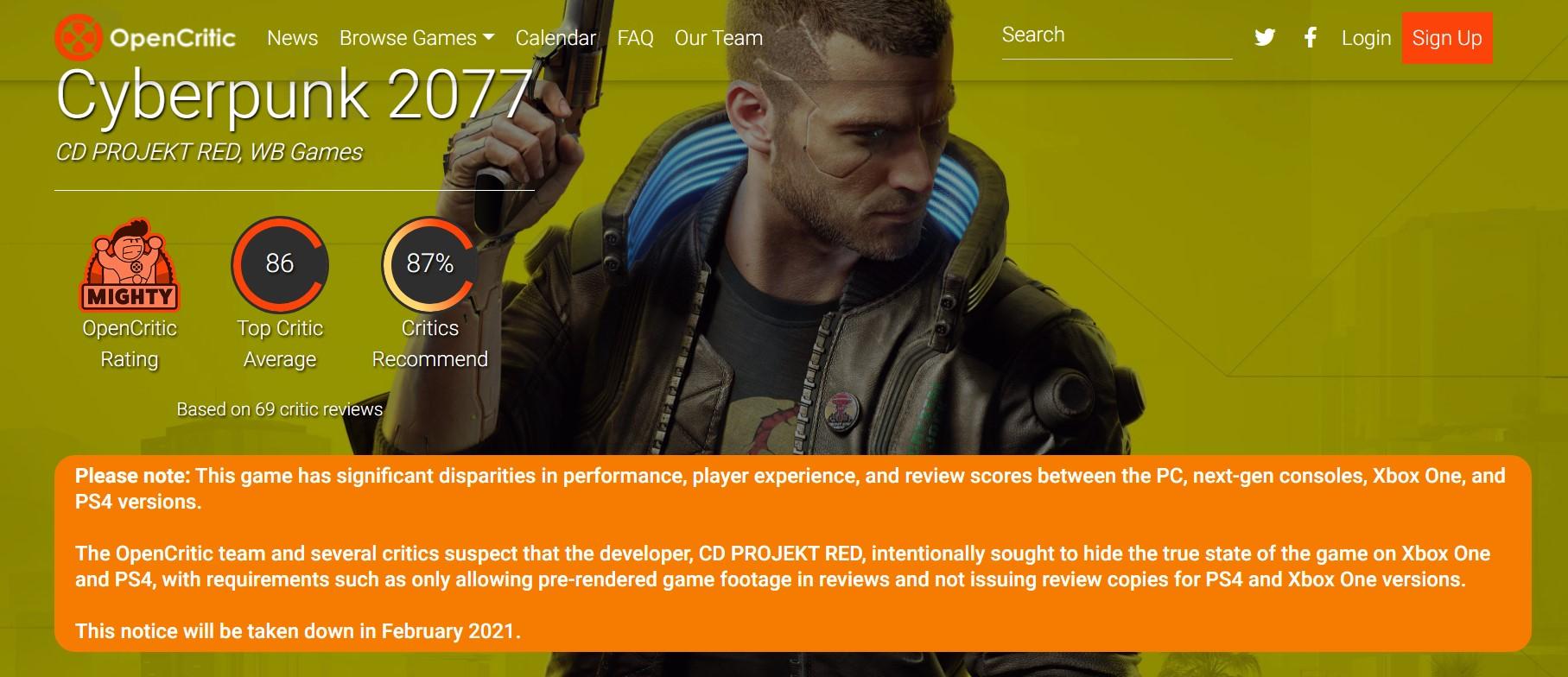 国外众评站OpenCritic指控《赛博朋克2077》主机版评分存在控评行为