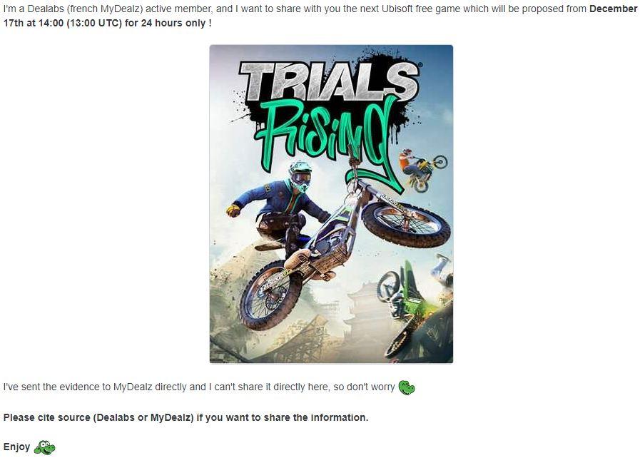 育碧赠送内容疑似曝光 或将送出《特技摩托:崛起》