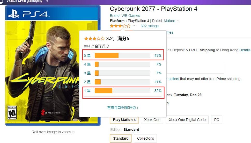 《赛博朋克2077》PS4版已经在美国亚马逊降价促销了