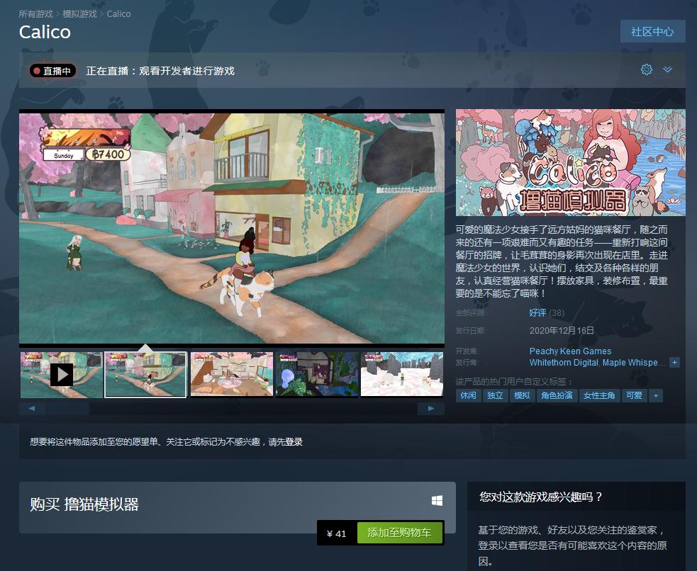 休闲游戏《撸猫模拟器》现已登陆Steam 国区售价41元