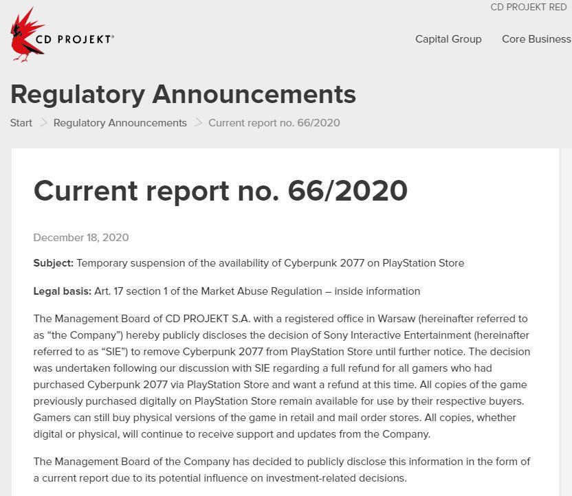 《赛博朋克2077》数字版下架是CDPR和索尼的协商结果