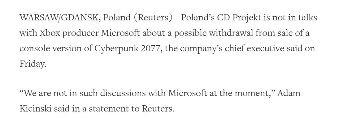 《赛博朋克2077》下架在社交媒体引起广泛讨论 网友:现在变成了Xbox限时独占